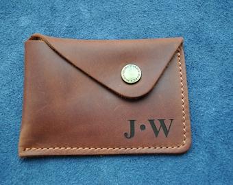 Minimalist Wallet, Best Leather Wallet, Slim Wallet, Cardholder, Boyfriend Gift, Fiance Gift Valentine's Day, Color - Light, Red, Dark Brown