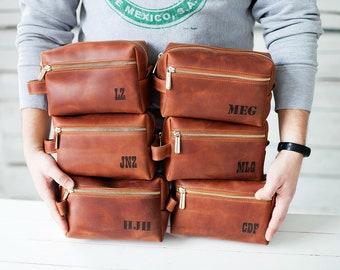 Groomsmen Gift SET of 6 or only 1 groomsmen proposal mens toiletry bag groomsman gift, leather dopp kit groom gift bag, bestman gift