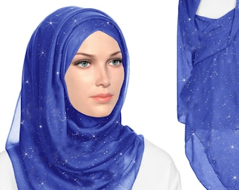 4 Shimmer viscose hijabs in different color combinations.