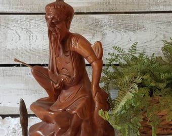 Antique Carved Wood Chinese Fisherman Statue Wood Asian Folk Art Sculpture Man with Fishing Pole Figure