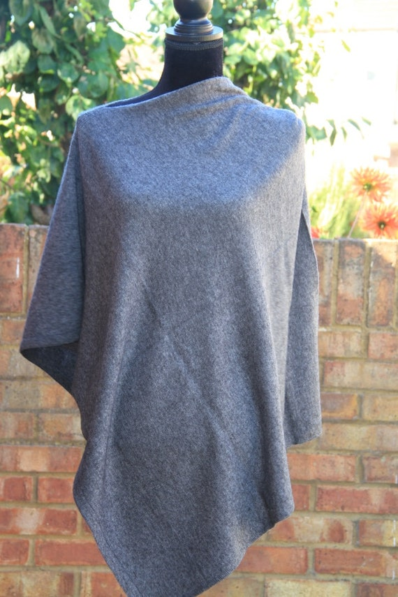 Charcoal Grey Cashmere Poncho Wrap Scarf Cashmere Jumper Shrug Pashmina Travel Holiday Wrap Versatile