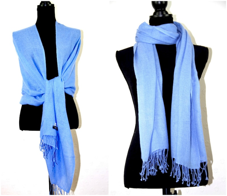 Soft Warm Cashmere Shawl Wrap Scarf Pashmina Bridesmaid Bridal Sky Blue Super Soft Light Fringed Elegant Accessory