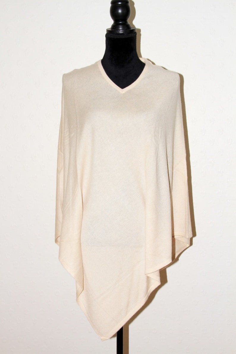 Cream Cashmere Poncho Wrap Travel Wrap Cashmere Jumper Pashmina Sweater One Size