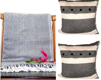 Cashmere Blanket Cashmere Throws Wrap & Two Cashmere Buttoned Cushion Covers Home Decor Sofa Handmade - HOME DEAL