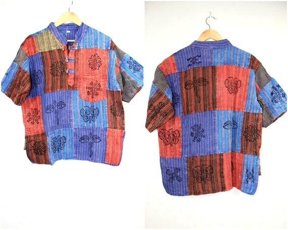cd69f335043 Patchwork Hippie Boho Shirt Top Granddad Short Sleeve Spring