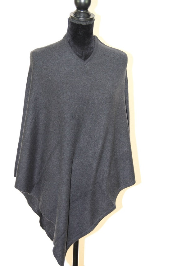 Ladies Fashion Warmer size Neck Winter Grey Ladies One V Poncho Cashmere Cashmere Cashmere Jumper Cashmere Charcoal qx0ZH71w