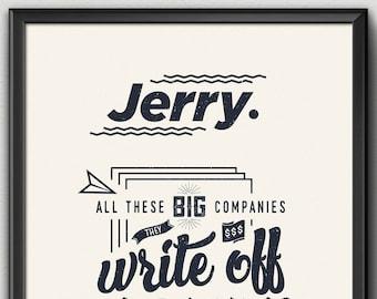 "Minimalist Seinfeld ""It's a Write Off!"" Seinfeld Poster"