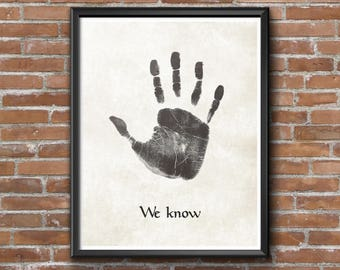 "Minimalist Elder Scrolls: Skyrim ""We Know"" Hand Print (Dark Brotherhood) Poster"