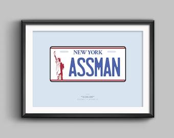 "Minimalist ""ASSMAN"" Licence Plate Seinfeld Poster (Landscape Variant)"
