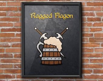 "Minimalist Elder Scrolls: Skyrim ""Ragged Flagon"" (Thieves Guild) Poster"