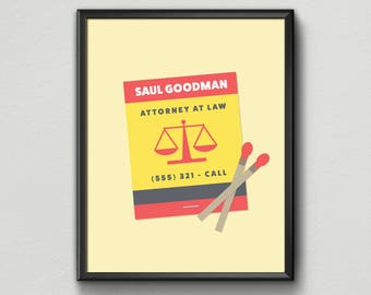 """Minimalist Better Call Saul """"Matchbook"""" Poster"""