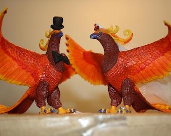 Phoenix Cake Topper; Geek Wedding; Animal Bride and Groom; Harry Potter Wedding; Fantasy Cake Topper; Fun Cake Topper; Wedding Decoration.