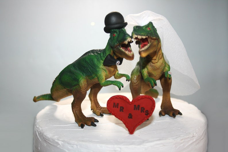 Wedding Cake Toppers Dinosaur Cake Toppers Large Funny Cake Toppers Jurassic Park Wedding T Rex Custom Cake Toppers Unique