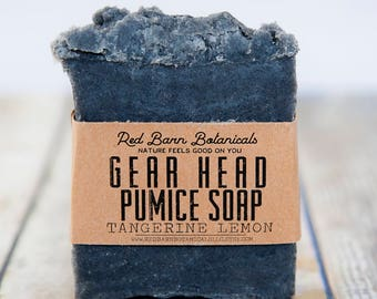 Gift for Mechanics ~ Gear Head Pumice Bar ~ Dirty Mechanic's Soap ~ Exfoliating Citrus Scent, Grease Cutting, Scrub soaps, Presents for Men