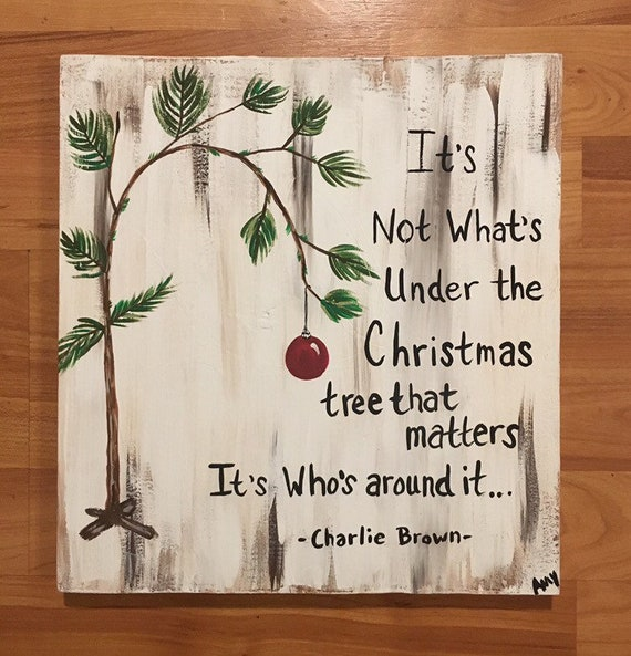 Charlie Brown Christmas Quote Painting, Charlie Brown Christmas tree