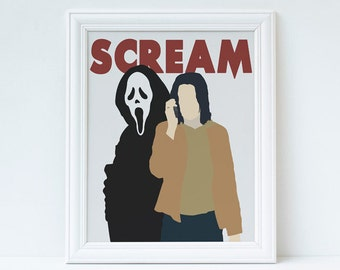Scream- Inspired Minimalist Horror Movie Poster featuring Sidney Prescott and Ghostface Gifts for Her | Gifts for Him