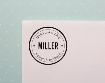 Circle Address Stamp // Return Address Stamp // Personalized Wedding Stamp // Housewarming Gift // Homeowners Gift