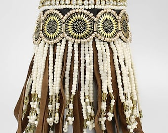 fringe, coin, and bead tassel bracelet - brown/gold/white
