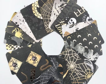 20pc Halloween Gold Foil Journaling Cards, Goth Project Life Pocket Cards