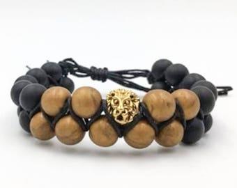 Mens Double Row Adjustable Lion Head Bead Bracelet