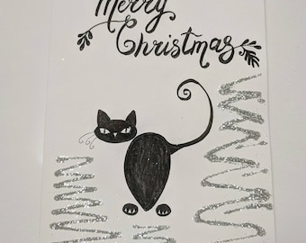 Handmade Christmas holiday card wishes - black cat