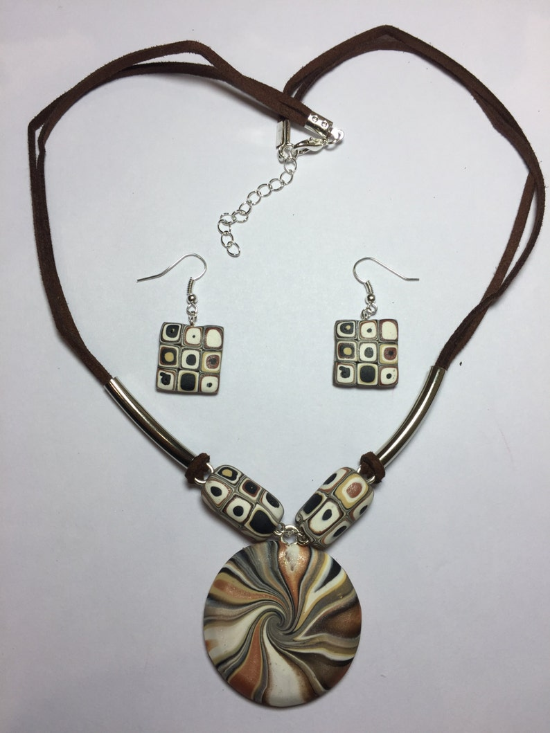 earrings and necklace with suede leather cord Double sided pendant Colourful swirl design set