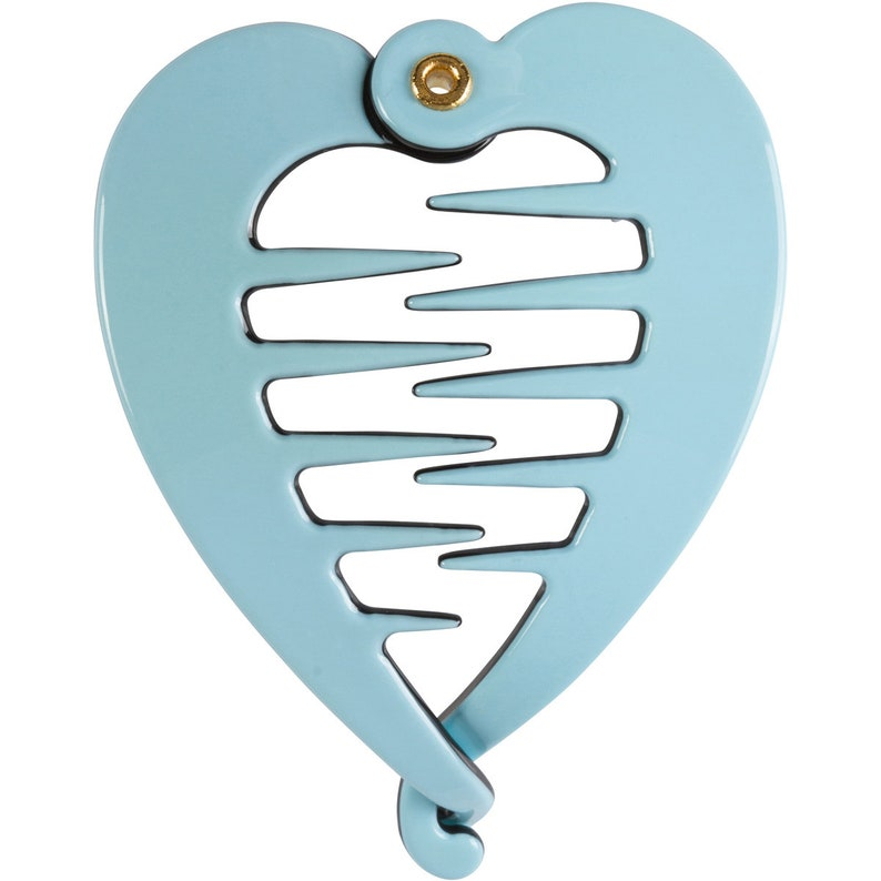 Pastel Blue Heart Shaped Ponytail Holder Classic Fish Clip Girl Hair Clip Hair Clips Women Hair Clip Hair Clips Fish Clips Fish Hair Clips