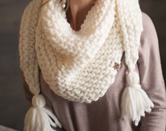 Sophia Scarf // Canadian Frost // 100% Pure Merino Wool