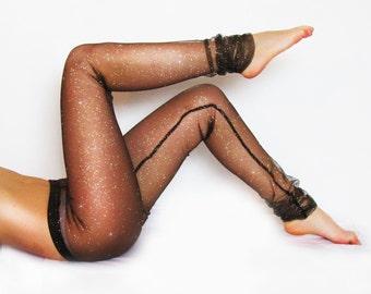 01fccc6ae5 Black Mesh Glitter Sparkle Leggings / Sexy Leggings / Lace Tights/ Sheer  Leggings / Festival Attire / See-through Pants / Yoga Apparel
