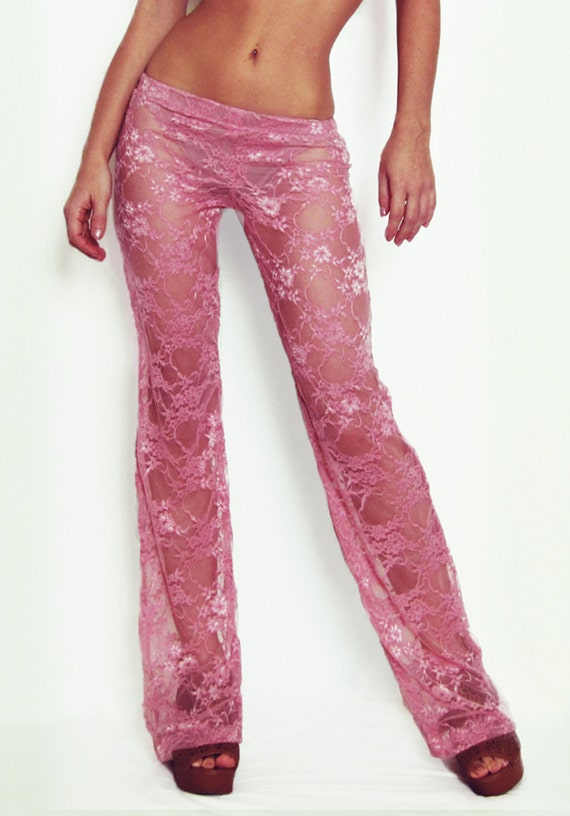 Custom Bohemian White Floral Print Lace Pants Festival Pants Dance Pants Bell Bottom Pants Beach Cover-Up Pants Flare Pants Playa