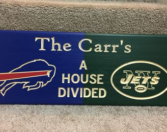 A house divided NFL football carved wood sign - Customize family sign -  Choose your teams d3702e4e1