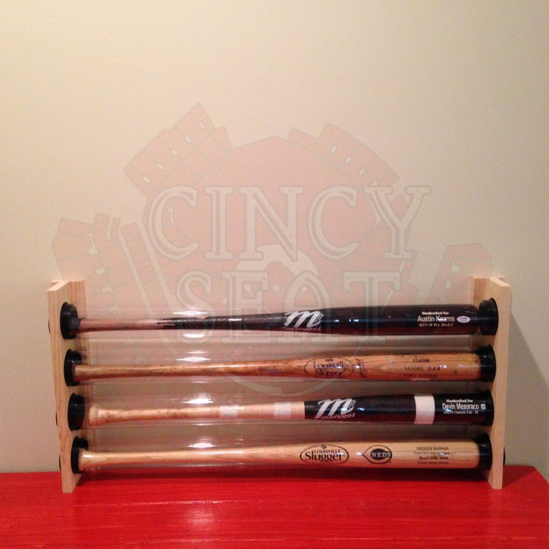 4 Baseball Bat Display Holder Rack – Wall Mount – Holds 4 Full Size  Baseball Bats - MLB