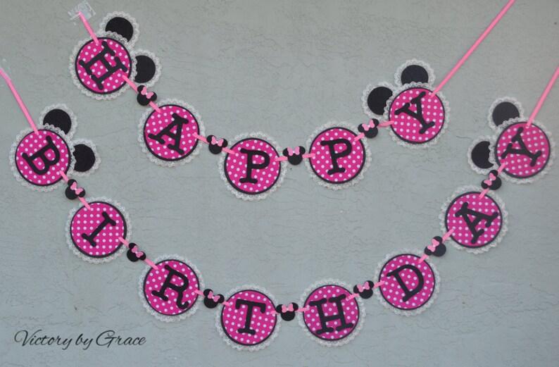 Banderole Joyeux Anniversaire Minnie Mouse Anniversaire Bannière Chaud Rose Minnie Bannière Rose Minnie Bannière Bannière Minnie Birthday