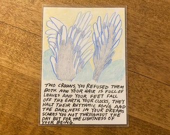 Non-Binary Prayer Card - Two Crowns (Fronds)