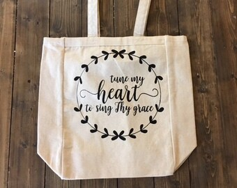 Come Thou Fount Tote Bag, heavy duty canvas, 13in X 15in
