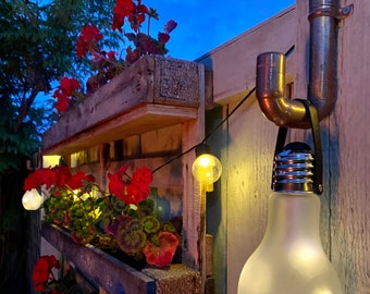 Garden Copper Hanging Wall Light, Battery Operated with Bulb