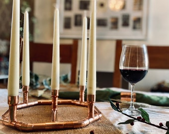 Copper Pipe Candle Holder/Wreath