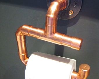 Industrial copper pipe and iron toilet roll holder