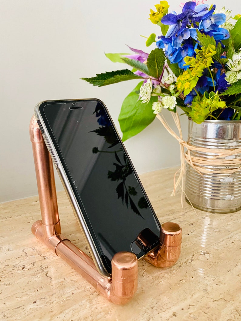 Industrial copper pipe mobile phone stand phone cradle phone image 0
