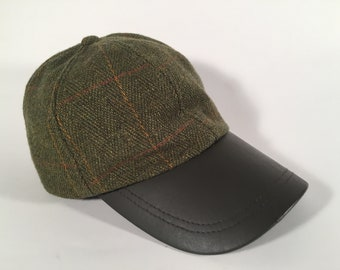 4c73b26301aec Thick Dark Green Wool and Leather Strapback Hat