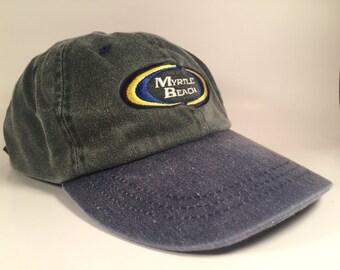 90s Denim Green and Blue Myrtle Beach Dad Hat