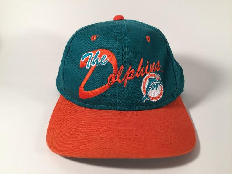 a040dd95f35021 Vintage Miami Dolphins Snapback Green and Orange   Etsy