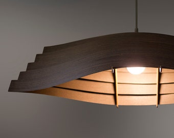 "Wooden Boat Pendant Light 33"" / Natural Wenge Veneer / Dining room lighting / Housewarming gifts"