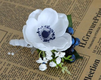 Blue turquoise boutonniere made with real touch flowers etsy white anemone boutonniere real touch flowers anemone with navy center mightylinksfo