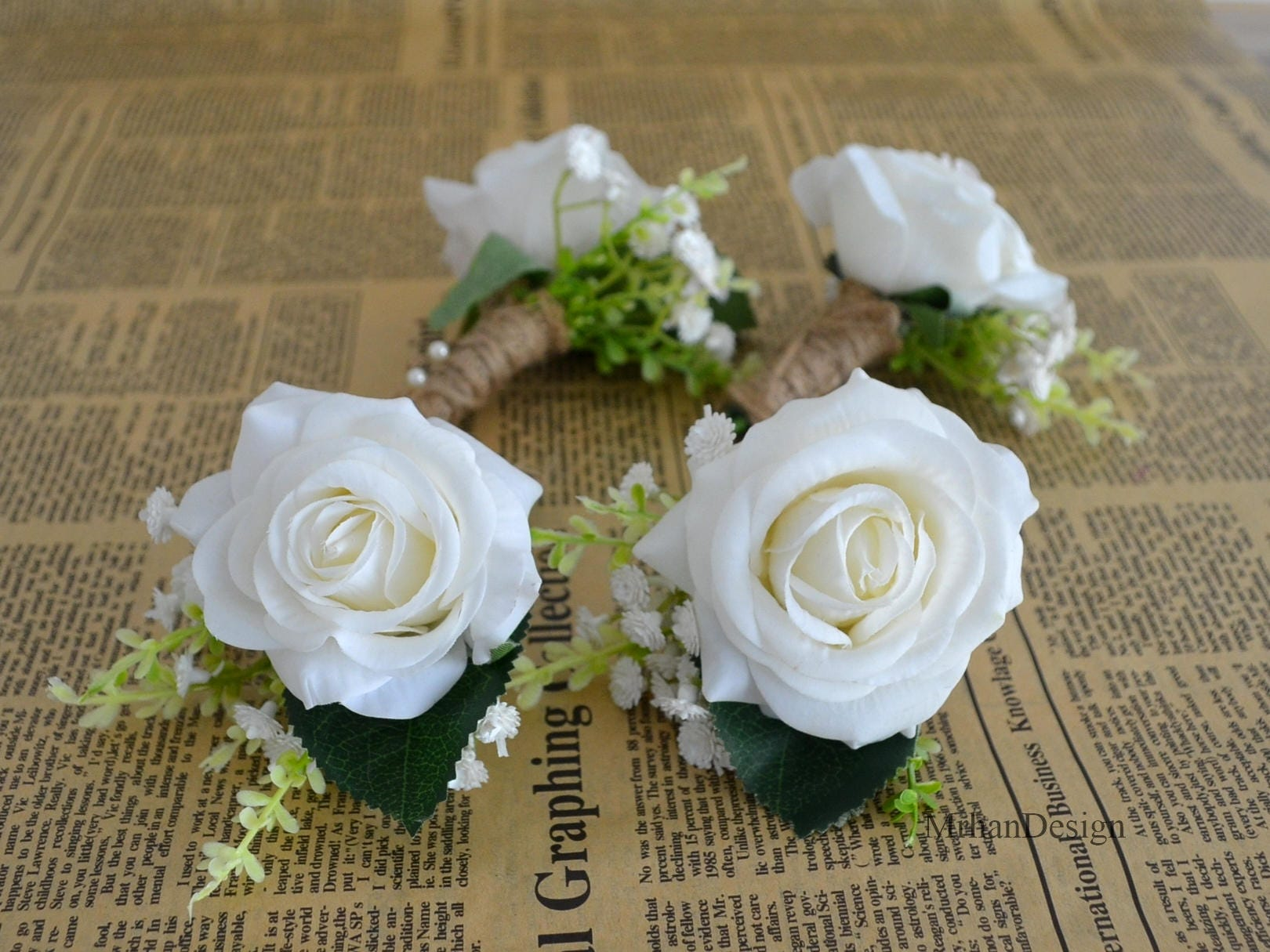 White Rose Boutonniere Real Touch Flowers Rose Groom Groomen Etsy