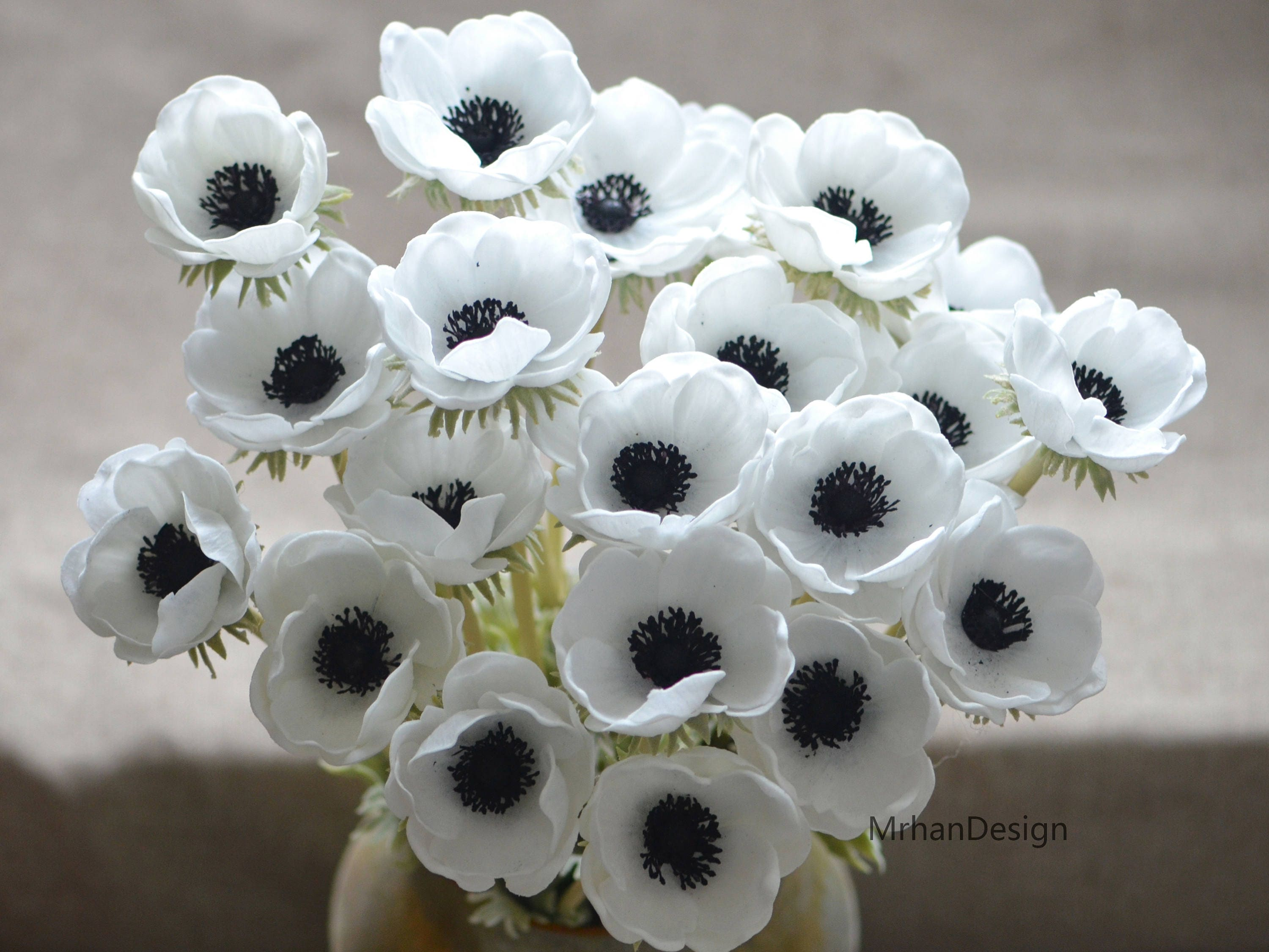Solid Black Center Anemones Real Touch Flowers Centerpieces Etsy