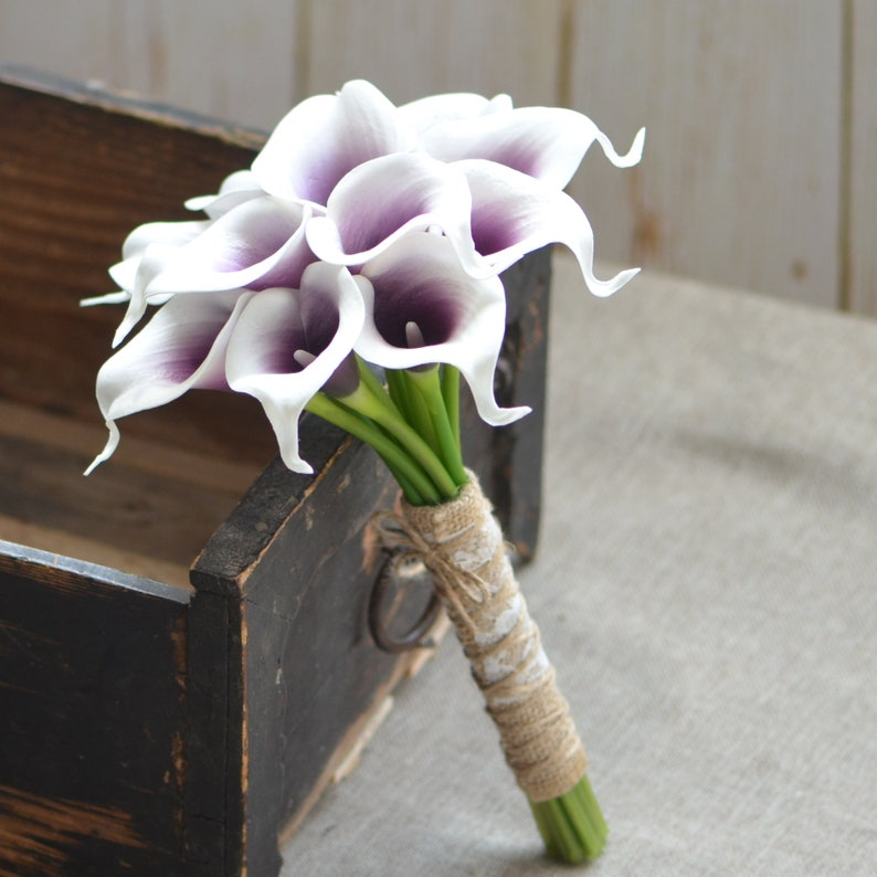 Calla Lilies Wedding Package-Picasso Purple Calla Lilies Silk Bridal Bouquet Boutonnieres Bridesmaids Bouquets Real Touch Flowers