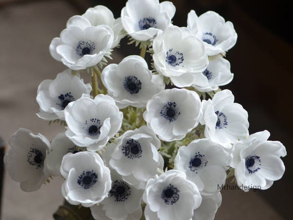 Deep blue center anemones real touch flowers centerpieces etsy image 0 mightylinksfo