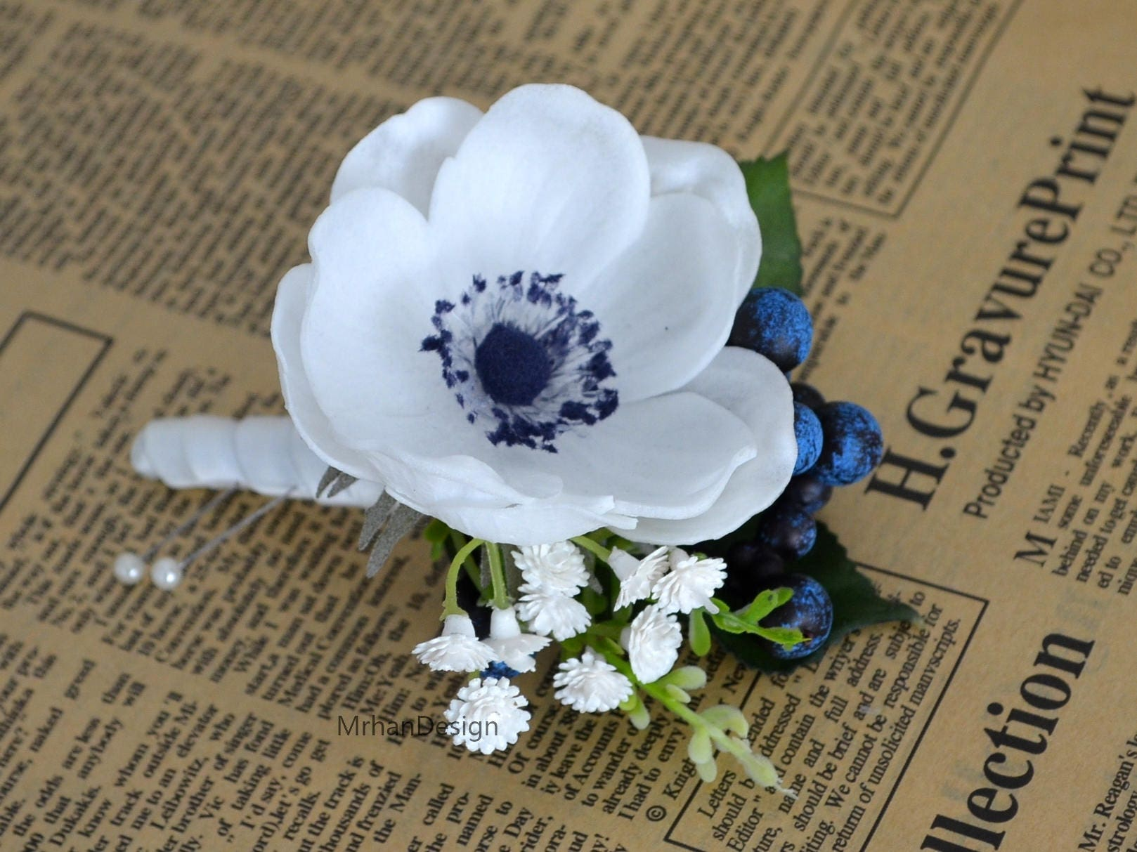 White Anemone Boutonniere Real Touch Flowers Anemone With Navy Etsy