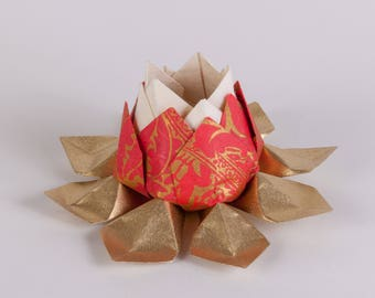 Origami Lotus Flower White/Red with Gold Petals